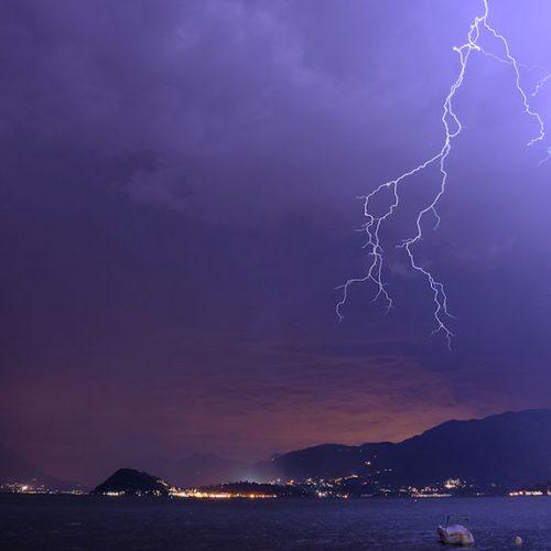 Fulmini in centro Lago di Como