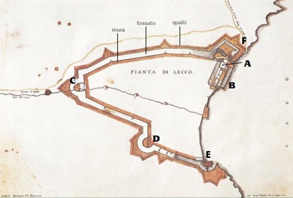 Lecco mappa borgo fortificato