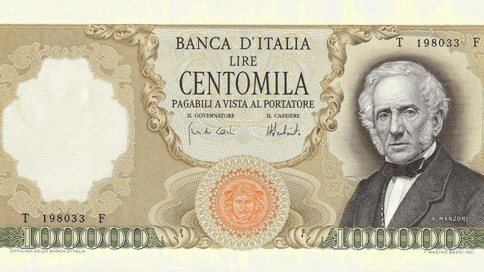100000 lire con Manzoni