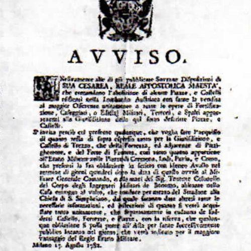 Bando vendita all'asta Castello di Lecco 17 agosto 1782 ASMi