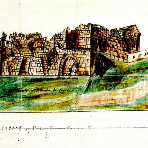 Lecco - Veduta dall'interno delle fortificazioni in rovina  nel 1748 tra il torrione San Nicolò e la porta di S. Stefano