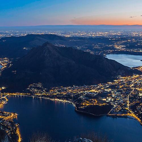 Panorama notturno su Lecco e Brianza