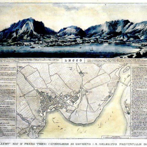 Pianta di Lecco 1830 - Acquaforte e acquatinta di Giulio Cesare Perego e Francesco Provasi