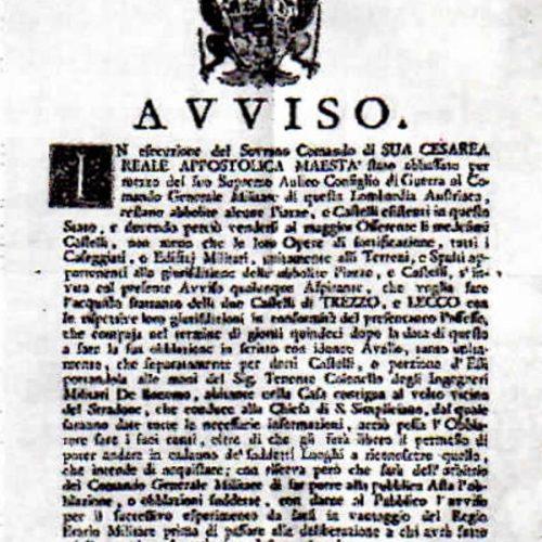 Bando messa in vendita Castello di Lecco, 22 giugno 1782 ASMi