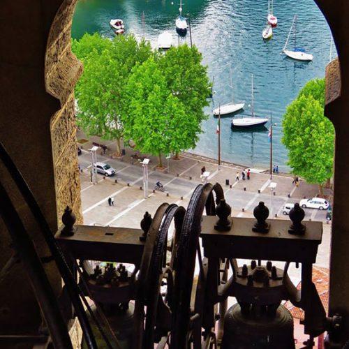 Vista sul lungolago di Lecco dalla torre campanaria Basilica San Nicolò