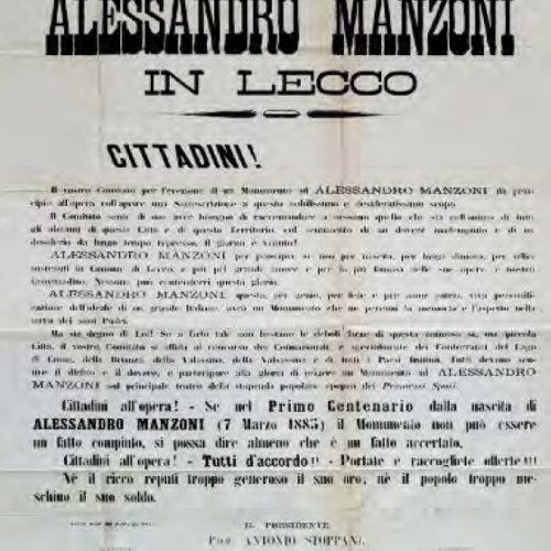 Lecco - Appello Comitato per monumento a Alessandro Manzoni