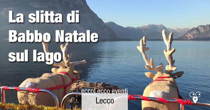 Slitta di Babbo Natale sul lago di Lecco