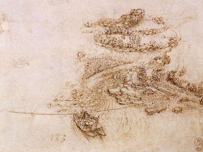 Leonardo da Vinci disegno traghetto di Imbersago