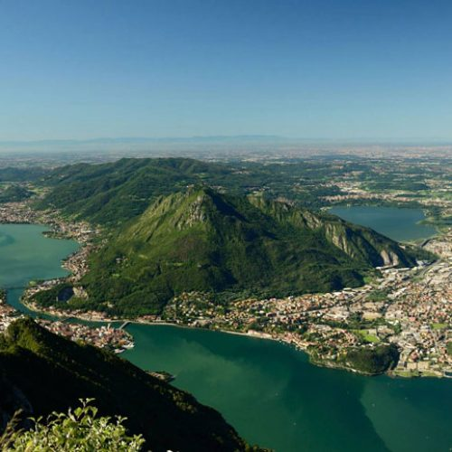 Panorama on Lecco and Brianza from Belvedere on Coltignone